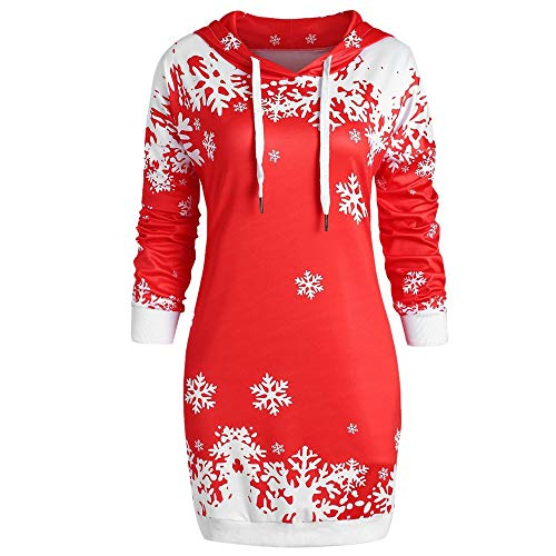 Sunhusing Women Fashion Santa Claus Snowflake Print Hoodie Blouse Ladies Hooded Sweatshirt Dress Tops