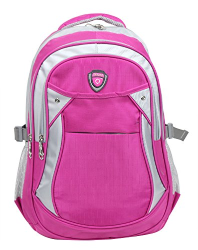 Zeraca Children Canvas Laptop Backpack Book bag for Primary Middle High School (Neon Hot Pink)