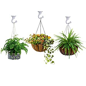 Pack of 12 Complete Sets – Heavy Duty Metal Ceiling Hooks, Wide Opening Swag Hooks, Plant Hanging Hooks with Hardware, White Enamel Finish