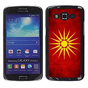 Be Good Phone Accessory Dura Cáscara cubierta Protectora Caso Carcasa Funda de Protección para Samsung Galaxy Grand 2 SM-G7102 SM-G7105//National Flag Nation Country Macedonia