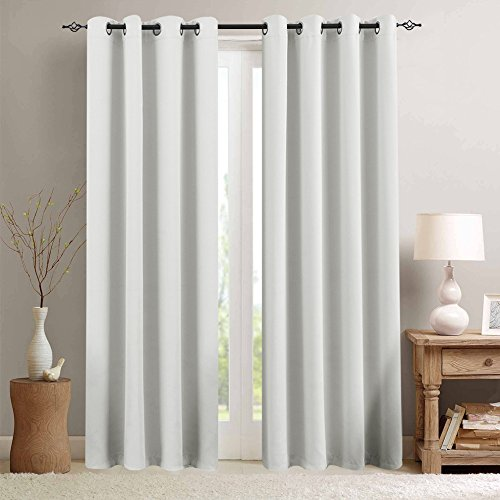 Moderate Blackout Curtains White Curtains 84 inch Bedroom Curtains Living Room Darkening Window Curtain Panels 84 inches Long Thermal Insulated Grommet Top Triple Weave Drapes, 1 Pair, Greyish White