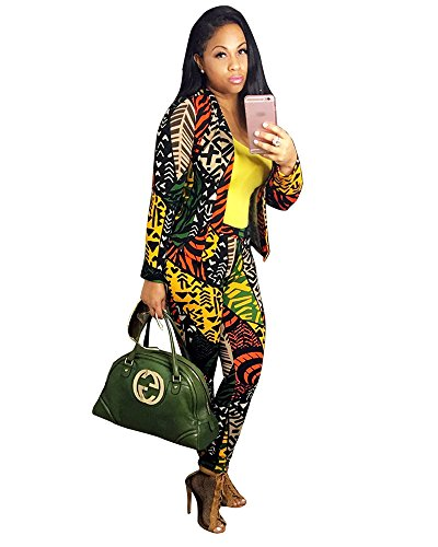 (Women's Long Sleeve Digital Print 2 Pieces Blazer and Pants Suit Set (Small, Yellow))