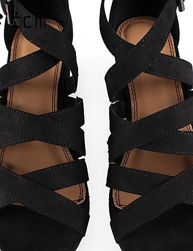 ShangYi Womens Shoes Chunky Heel Platform/Gladiator/Ankle Strap Sandals Office & Career/Party & Evening/Casual Black Shoes Black