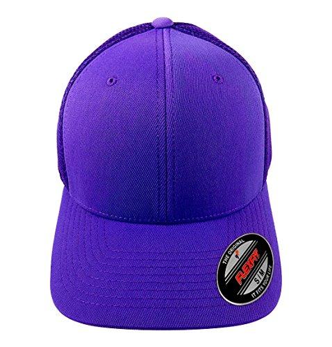 Purple Fitted Hat Cap - Flexfit 6533 Ultrafibre & Airmesh Fitted Cap, Purple - Small/Medium