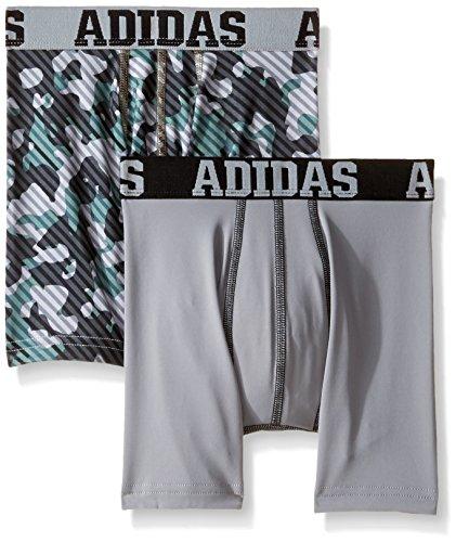 adidas Boys Sport Performance Climalite Boxer Brief Underwear (2 Pack), Onyx/Grey/Grey/Black, Small