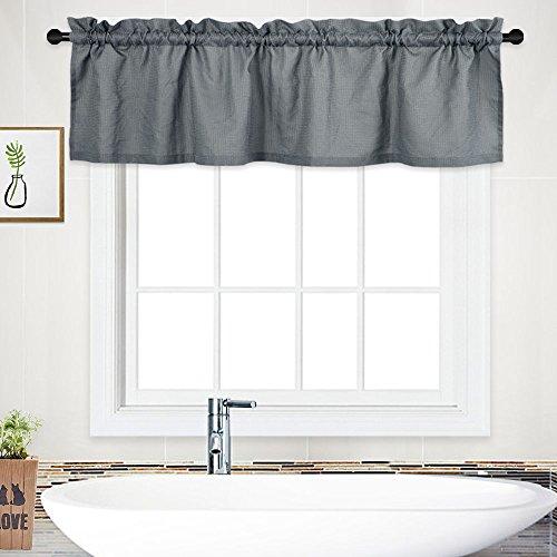 NANAN Shower Curtain Valance,Waterproof Waffle Woven Textured Valance for Bathroom Short Window Curtain,Rod Pocket Tailored Kitchen Valance Curtain Cafe Curtains - 60