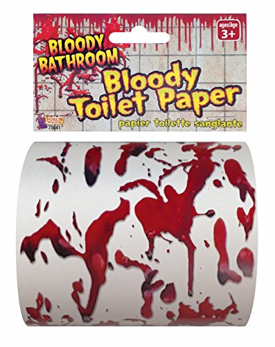Forum Novelties Bloody Bathroom Toilet Paper, Red/White