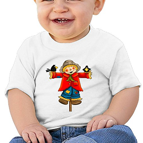 Lin'djsidju Scarecrow Doll and Two Crows Baby T-Shirt Pattern Short-Sleeved Cotton T-Shirt 100% Cotton (Doll Tee Baby Sleeveless)