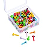 Willbond 150 Pieces Mini Brads Assorted Colors Round Brad Pastel Brads with Platic Storage Box for Scrapbooking Crafts Making Stamping and DIY