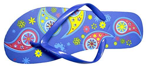 Octave , Damen Zehentrenner Blau - Bright Paisey Design - Blue