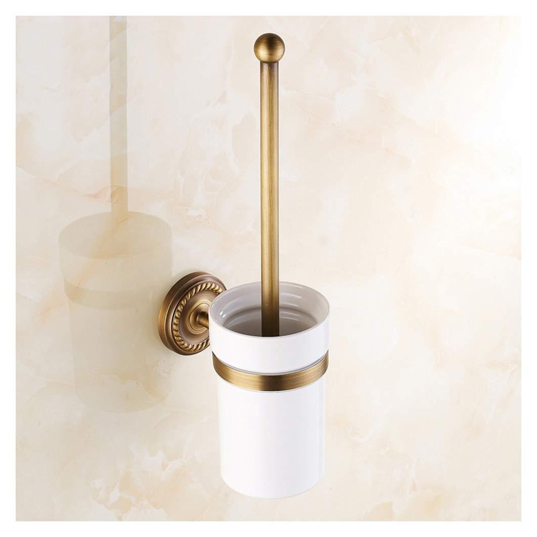 JDGK トイレブラシ銅アンティーク浴室トイレブラシセラミックカップセット浴室ペンダント古典的な空気トイレブラシホルダー - トイレブラシ B07SCY4XNQ