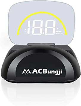ACBungji 3.5 Car HUD OBD2 Digital Speedometer Tachometer Head Up RPM MPH Display Over Speed Alarm Voltmeter Water Temperature Warning Auto Suv RV