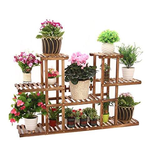 Jian E & Estantes de plantas de flores de varios niveles Estante Estante de madera para plantas de jardín Estante de ollas...