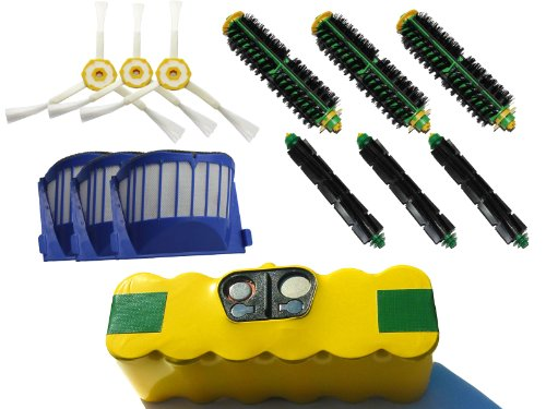 Replacement iRobot Roomba 572 Pet Series (AeroVac) Battery, Filter, Bristle Brush, Flexible Beater Brush and 3-Arm Side Brush - Kit Includes 1 High Capacity Battery, 3 AeroVac Filter, 3 Bristle Brush, 3 Flexible Beater Brush and 3 3-Arm Side Brush - Roomba 572