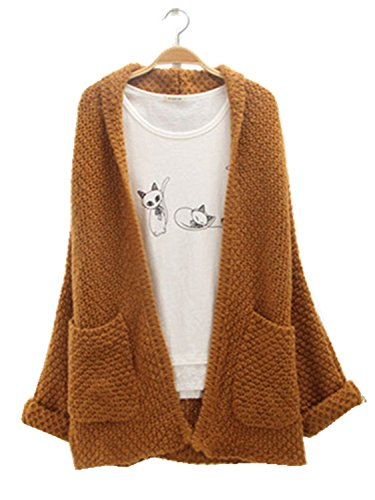 Gamery Women's Long Sleeve Casual Knit Pocket Open Front Cardigans Sweater Coats One Size Coffee