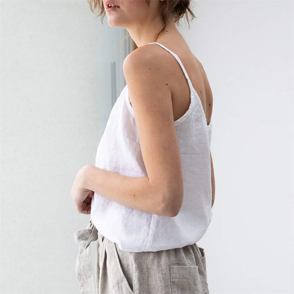 Kirbyates Women/'s Tank Top Cotton and Linen Camisole Solid Color Tunic Tops Sling Blouse Sleeveless Summer Tee Vest