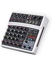BOMGE Mezclador de sonido de 6 canales, consola de mezcla de DJ digital profesional para transmisión en vivo, karaoke y grabación estéreo, con reproducción de grabación de ordenador de PC, Bluetooth, MP3, USB, 48 V, 16 DSP Echo