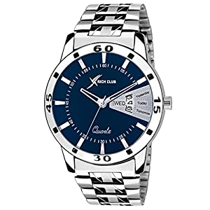 Rich Club Analogue Men's & Boys' Watch (Blue Dial Silver Colored Strap)