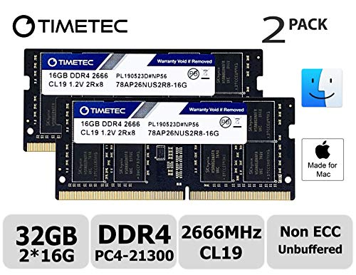 Timetec Hynix IC 32GB KIT(2x16GB) Compatible for Apple 2019 iMac 27-inch w/Retina 5K Display, Late 2018 Mac Mini DDR4 2666MHz PC4-21300 2Rx8 CL19 1.2V SODIMM Memory RAM Upgrade (32GB KIT(2x16GB))