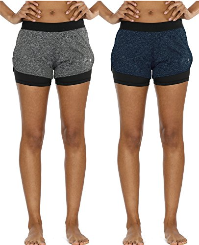 icyzone Running Yoga Shorts for Women - Activewear Workout Exercise Athletic Jogging Shorts 2-in-1 (Charcoal/Royal Blue, M) (Works Shorts Athletic)