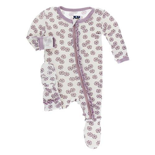 Kickee Pants Little Girls Print Muffin Ruffle Footie with Zipper - Natural Lantana, 18-24 Months