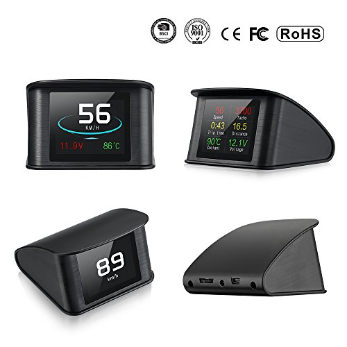 T600 Universal Car HUD Intelligent Multi-Fuction Digital LCD Meter 9V to 16V GPS Speedometer with Voltage Single Distance Driving Total Distance Driving Time Driving Speed Alarm for All ()