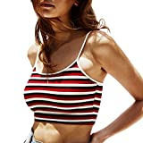 Sexy Tops for Women Sleeveless Summer Striped Off Shoulder Strappy Tank Tops Blouse Tunic Red