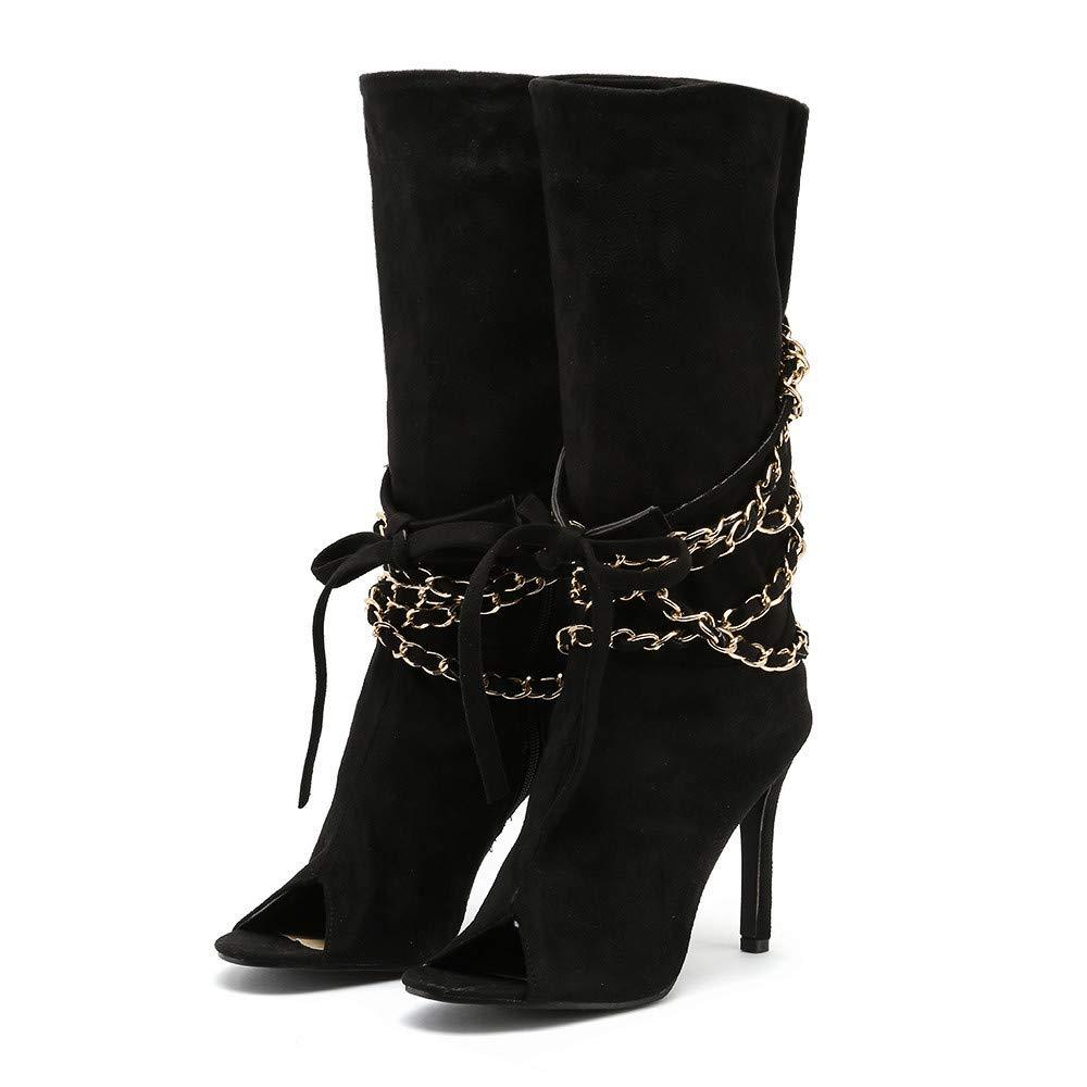 4b8487ab7fb Amazon.com  Challyhope Women Retro Zipper Fish Mouth Flock Ankle Boots Lady  Sexy High Thin Heels Peep Toe Shoes  Clothing