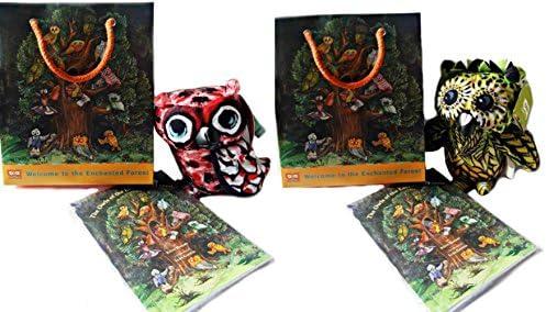 """جیب جواهرات از مجموعه هدایای جنگل Enchanted 6 """"Owl Bean Plush Owl ، کتاب و کیسه هدیه - 6 طرفدار (مجموعه مخلوط)"""