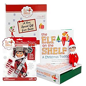 Elf on the Shelf Blue Eyed Boy with Polar Pattern Outfit in Santa Gift Box