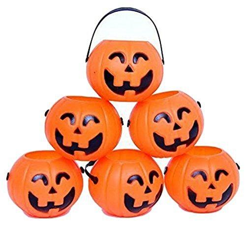 SODIAL Pumpkin Candy Holder 12 Mini Trick-or-treat Halloween Candy Bucket:Orange -