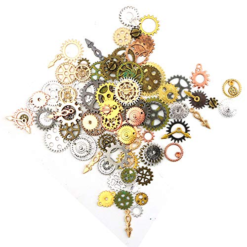 Oruuum 200 Gram Vintage Antique Steampunk Gear Charms, Assorted Alloy Gear Pendants Charms Steampunk Jewelry Making Charms Cogs Clock Watch Wheel Gear (Mixed Color)