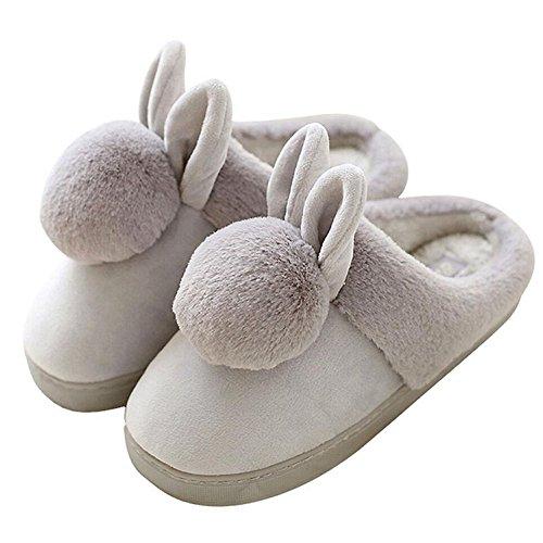 Inverno Donna Caldo Carino Orecchie Palla Di Pelo Casa Camera Da Letto Pantofola Antiscivolo In Pelle Scamosciata Fumetto Casa Pantofole In Grigio