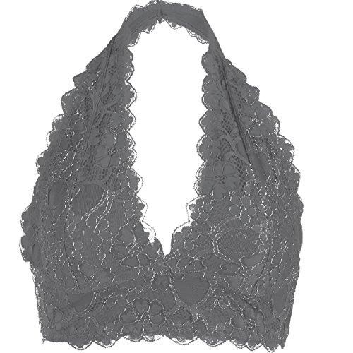 Lined Silk Camisole - Halter V Neck Floral Lace Un-Pad Bralette Top Sheer Bra Bustier Crop Wireless Lingerie (Gray, Medium/Large)