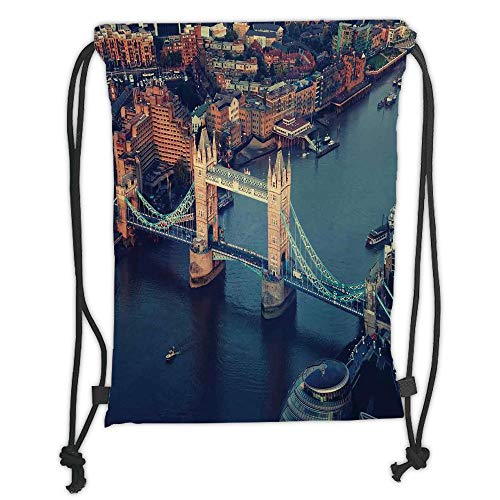New Fashion Gym Drawstring Backpacks Bags,London,London Aerial View with Tower Bridge at Sunset Internatinal Big Old UK British River Decorative,Multicolor Soft Satin,Adjustable S -