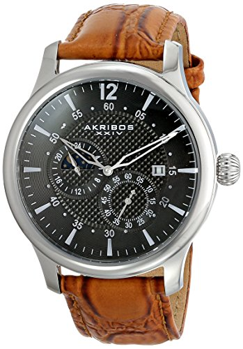 Akribos XXIV Men's AK537SSBR Automatic Self-Wind Movement Watch with Black Dial and Cognac Genuine Leather Strap