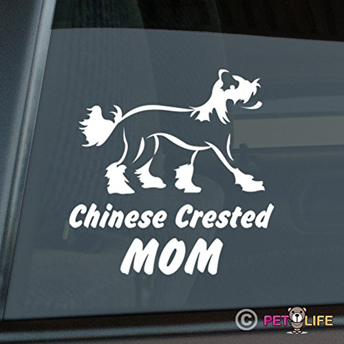 Chinese Crested Mom Sticker Vinyl Auto Window v2 puff
