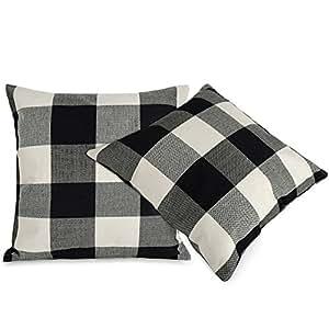 Black White Checkers Plaids Throw Pillow Case Sham Decor Cushion Covers Square 18x18 Inch Linen 2pcs
