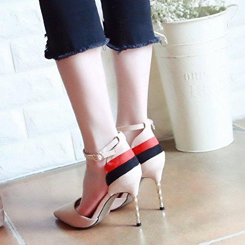 ZHUDJ Feder High Heel Schuhe Rechtschreibung Für Frauen Scharfe Kopf Dünnen Und Flachen Mund Schuhe Eine Schaltfläche Wort Schuh Frau Beige