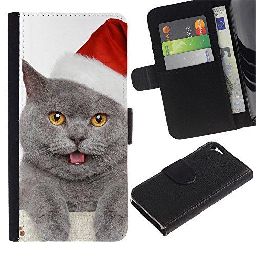 EuroCase - Apple Iphone 5 / 5S - British shorthair Russian blue cat Christmas - Cuero PU Delgado caso cubierta Shell Armor Funda Case Cover