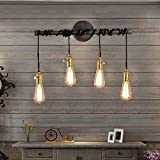 Jiuzhuo Industrial Edison 4 Hanging Bulb Light Vintage Wall Sconce