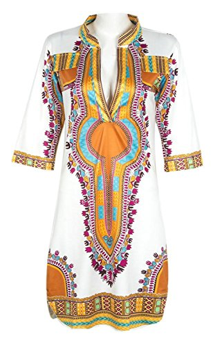 Traditional African Print Dashiki Bodycon Plus Size Short Sleeve Dress White XXX-Large