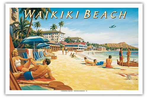 (Pacifica Island Art Waikiki Beach, Hawaii - Moana Hotel - Diamond Head Crater - Vintage Style Hawaiian Travel Poster by Kerne Erickson - Master Art Print - 12 x 18in)