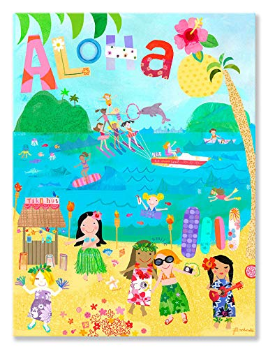 - Oopsy Daisy Aloha Girls Stretched Canvas Wall Art by Jill McDonald, 18 by 24-inch