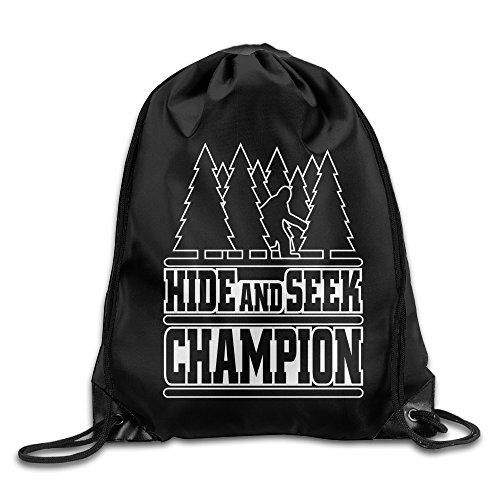 Hide Seek Champion Bigfoot Trees Forest Funny School Bag Drawstring Backpack Travel