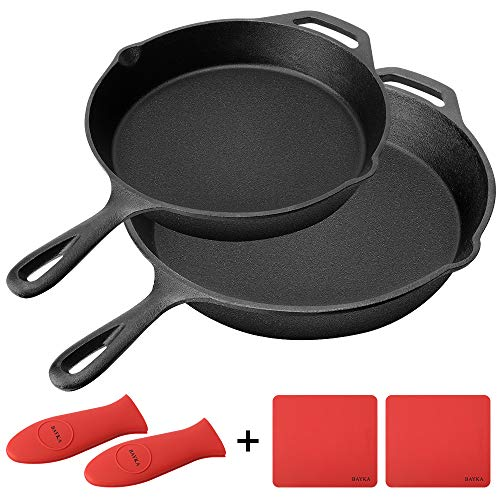 Cast Iron Skillet, BAYKA Pre-Seasoned 6-Piece Set with 10 & 12 Cast Iron Pans & 2 Heat-Resistant Holders & 2 Silicone Mats, Oven Grill Stovetop Induction Safe, Cookware Great for Sautes and Stir Fry