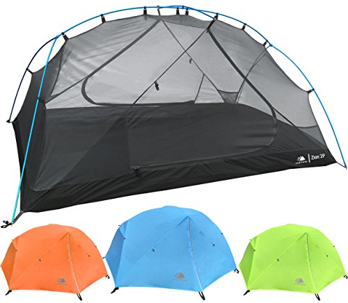 Hyke & Byke Zion Two Person Backpacking Tent with Footprint - Lightweight, Spacious Interior, Compact, and Durable Design (Blue)
