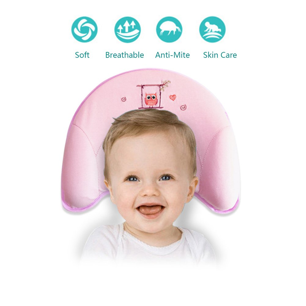 Baby Pillow with Head Shaping Function,Soft Breathable Head Neck Support, Prevent Flat Head for Infant (0-12) Months Pillowcase is Included baby way
