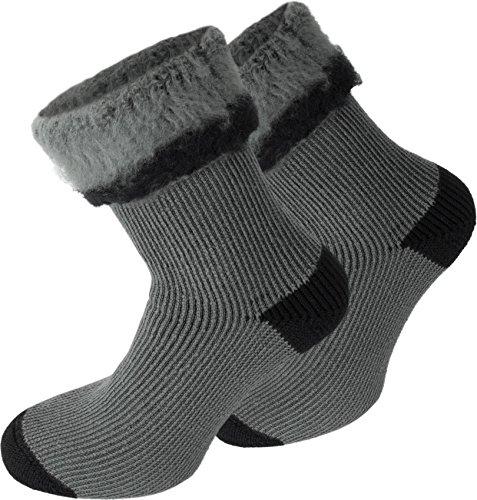 3 Paar Nie wieder kalte Füße! POLAR HUSKY® Wintersocken - super-dick und sehr warm Farbe Extrem/Hot/Grau/Schwarz Größe 39/42