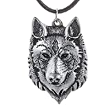 Paw Paw House Mens Norse Wolf Head Necklace Pendant for Dog Lover Men Norse Viking Arrow Headed Amulet Jewelry